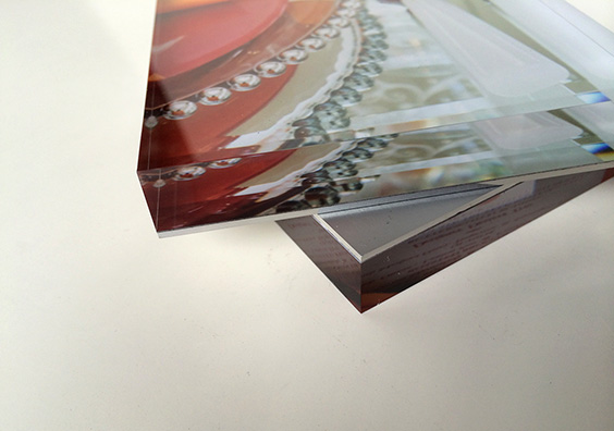 An example of 12mm acrylic face + 1.5 mm solid aluminum backing.